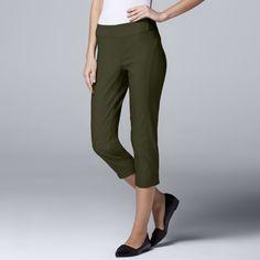 Petite Simply Vera Vera Wang Twill Capris, Women's, Size: 10 Petite, Dark Green