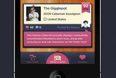 Social Wine iPhone App Tab Bar / Tabbar by Mason Yarnell. If you like UX, design, or design thinking, check out theuxblog.com
