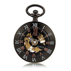Black Round Steampunk Military Mechanical Pocket Watch Men Luxury Gift Double Roman Number Skeleton Vintage Antique Watch -- To view further for this item, visit the image link. (Note:Amazon affiliate link)