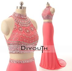 DIYouth.com Handmade Beading Crystal Chiffon 2 Pieces Mermaid Prom Dresses 2015,open back evening dresses,backless evening dresses, two pieces homecoming dresses,Long bridesmaid dress,pink bridesmaid dress,mermaid prom dress,formal women dress/party dress