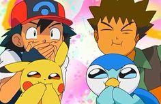 Ash, Pikachu, Brock y Piplup