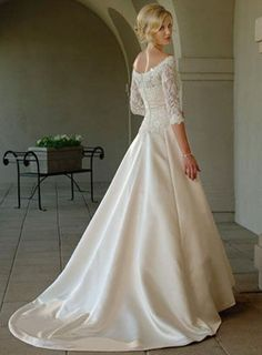Lace 3/4 Long Sleeves Off-The-Shoulder A-line Wedding Dress