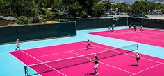 Love these pink tennis courts. GIRLS ONLY!!! LOL!!!