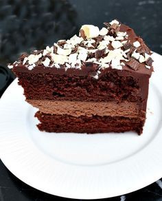 Chocolate Cheesecake Cake. It is chocolate cake with a chocolate cheesecake layer in the middle. OMG!!!
