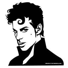 Famous singer Prince vector portrait.