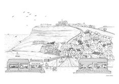 Whitby illustration print black & white drawing Yorkshire