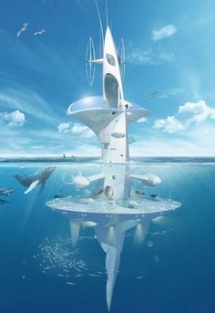 green living in floating cities, futuristic architectural designs