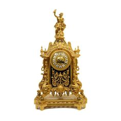 French Louis Xiv Style Bronze Clock With Zeus Figurine | VandM.com ❤ liked on Polyvore featuring home, home decor, clocks, decor, furniture, accessories, bronze home decor, bronze figurines and bronze clock