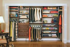 Get great closet organization ideas from California Closets.: Elevated: Your Basic Reach-In Closet California Closets, Small Closet Organization, Closet Storage, Organization Ideas, Closet Shelving, Storage Ideas, Wardrobe Organisation, Organizing Tips, Organising