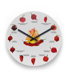Some like it HOT! For the pepper lover in your life - the 12 hottest peppers in the world. Perfect for the kitchen, dining room, or man cave. Cat Brain, Red Chili Peppers, Up Balloons, Some Like It Hot, Stuffed Hot Peppers, Thing 1 Thing 2, Clock, Kitchen Dining, Dining Room