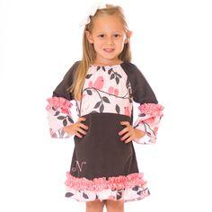 Pink Gray Bird Split Ruffle Dress 10/11