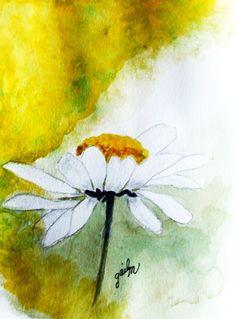 White Daisy Watercolor