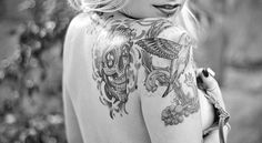 Cool sugar skull tattoo and hummingbird tattoo on this girl. #tattoo #tattoos #Ink