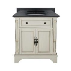 Albertine 31 in. Vanity in Creamy White with Granite Vanity Top in Black and Basin ABCWVT3122D at The Home Depot - Mobile