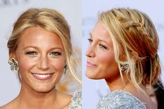 Blake Lively side-braided chignon with face-framing strands and glowing skin