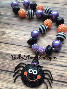Halloween mini spider chunky by BellaStoneBoutique on Etsy