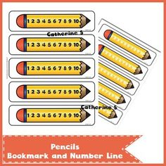 Pencil Bookmark and Number Line 2 pages - 5 pencils / page Please don't forget to leave feedback :) Also available: Addtion Worksheets 45 Additi. Teaching Math, Don't Forget, Numbers, Number Lines, Pencil, School Stuff, Worksheets, Free Printables, Dessert