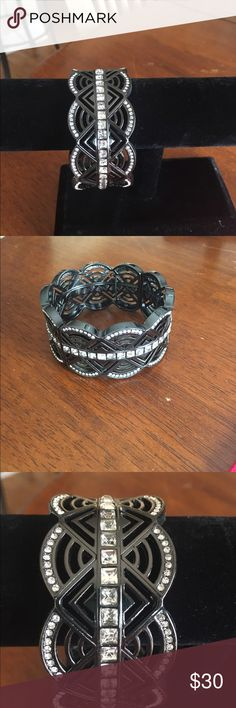Lia Sophia bracelet Hematite stretch bracelet.  Cut crystals.  No flaws or defects.  No missing stones. Lia Sophia Jewelry Bracelets