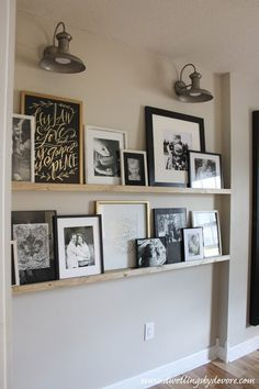 Dwellings By DeVore: DIY picture ledge Home Living Room, Living Room Decor, Picture Shelves, Ikea Picture Ledge, Picture Ledge Bedroom, Gallery Wall Shelves, Mosslanda Picture Ledge, Kitchen Gallery Wall, Photo Shelf