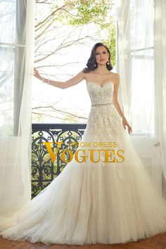 2016 Sweetheart A-Line Wedding Dresses Tulle With Applique Court Train