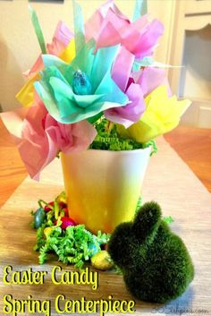 Easy to make Easter candy spring centerpiece