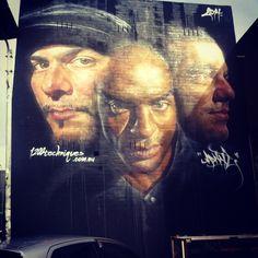 Artist Matt Adnate new photorealistic Street Art portrait in Melbourne, Oz.