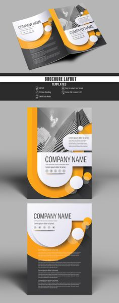 Brochure Cover Layout with Gray and Orange Accents 3 - image | Adobe Stock #Brochure #Business #Proposal #Booklet #flyer #template Design layout | Brochure template | Brochure design template | Flyers | Template | Brochures | Flyer Background | Background design | Business Proposal | Proposal Design | Booklet | Professional | Professional - Proposal - Brochure - Template
