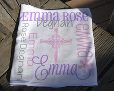 Personalized Baptism Blanket with Cross - Monogrammed Baptism Blanket for Boys - Custom Name Christening Blanket - Religious Baby Blanket Soft Baby Blankets, Receiving Blankets, Christening Blanket, Personalized Baby Blankets, Minky Fabric, Knot Headband, Monogram Gifts, Different Fabrics