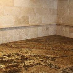 Tumbled Travertine Backsplash With Granite Tumbled Travertine Tile Full Height Backsplash With Granite Counter