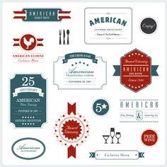 Elegant vector package for American restaurant. #restaurantbranding #restaurantgraphics #typography