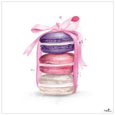 Macarons Art Print by Maja Tomljanovic - X-Small Dessert Illustration, Cute Illustration, Watercolor Illustration, Cupcake Kunst, Cupcake Art, Cake Drawing, Food Drawing, Pink Wallpaper Girly, Decoupage