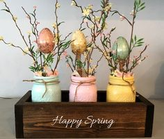 Set Of 5 Easter Mason Jars Decor