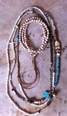 Beautiful pearl and leather lariat in by JulieMoloneyDesigns, $125.00