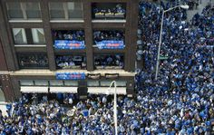 A large crowd gathered as the celebrations continued Tuesday for the Kansas City Royals players, family and fans with a parade for the Royals team who beat the New York Mets in five games to win the World Series 2015 in New York. The parade was southbound on Grand Boulevard and ending at Union Station for a large rally.