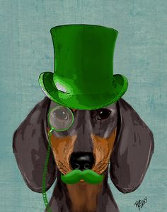 14x11 Daschund Green Top Hat Art Print Illustration by LoopyLolly, $30.00