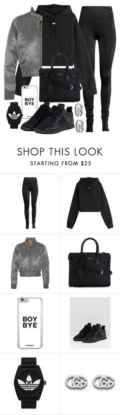 """""""Untitled #22330"""" by florencia95 ❤ liked on Polyvore featuring Off-White, Balenciaga, Yves Saint Laurent, adidas, adidas Originals and Gucci"""