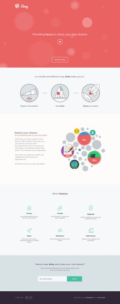 Launching soon page for 'Aimy' - an upcoming application that aims to track goals and dreams but also help promote the important ones. There is a very impressive infographic animation that transforms as you scroll down between sections.