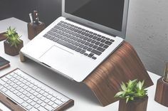 Walnut Wood Laptop Stand | Ergonomic with Steel Accents