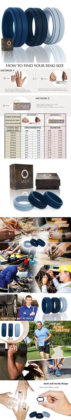 Silicone Weddings Rings for Men by ARUA. 3-PACK. Comfortable and Durable Rubber Wedding Bands for Sports, Gym, Outdoors. 2mm thick. Black, Grey, Dark Blue. (Size 10 (19.8 mm diameter))