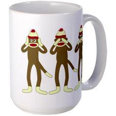 No Evil Sock Monkeys Large Coffee Mug