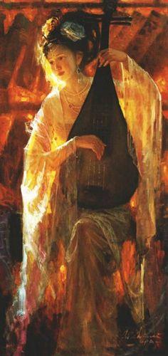 Zhiwei Tu (Chinese painter) 1951 - Dunhuang Music and Dance series