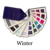 Winter color fabric swatch - 30 bold cool tones from Seasonal color analysis #color analysis #winter color swatch