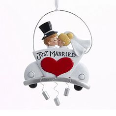 """Kurt Adler """"Just Married"""" Couple Ornament for Personalization"""