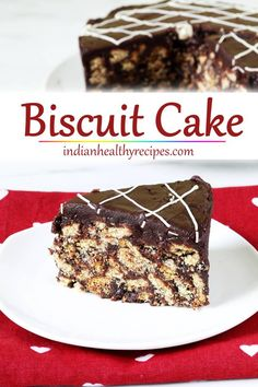 Biscuit cake made with biscuits, milk, cocoa, nuts & chocolate. This easy no bake chocolate biscuit cake is eggless & tastes delicious. Cake Recipes In Hindi, Easy Cake Recipes, Dessert Recipes, Dessert Ideas, Eggless Desserts, No Bake Desserts, Eggless Baking, Marie Biscuit Cake, Fudge