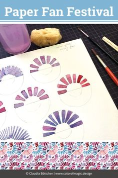 Paper Fan Festival Work in progress – have a look at my new Paper Fan Festival watercolour pattern now on my website! Watercolor Pattern, Watercolor Art, Color Magic, Doodle Inspiration, Paper Fans, Watercolor Techniques, Modern Fabric, Graphic Patterns, Surface Pattern Design