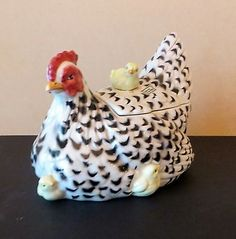 Fitz and Floyd Cookie Jars   FITZ AND FLOYD Retired Poulet CHICKEN CHICKS SOUP TUREEN COOKIE JAR ...