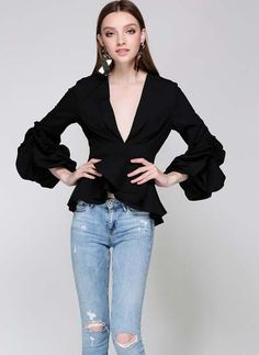 V Neck Long Puff Sleeve Solid Blouse