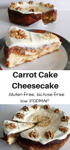 A carrot cake cheesecake is the best of both worlds! Carrot cake and cheesecake in one! Allergy-friendly: gluten-free, lactose-free and low FODMAP. Carrot Cake Cheesecake, Gluten Free Cheesecake, Gluten Free Desserts, Cheesecake Recipes, Gluten Free Recipes, Baking Recipes, Dessert Recipes, Gf Recipes, Healthy Recipes