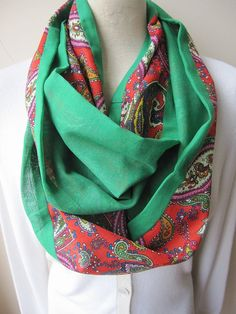 Emerald green red paisley Cotton infinity scarf  summer fashion women's scarves Turkey circle scarf on Etsy, $19.83 AUD