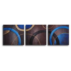 "My Art Outlet Hand Painted ""Circulation"" 3-Piece Canvas Art Set"